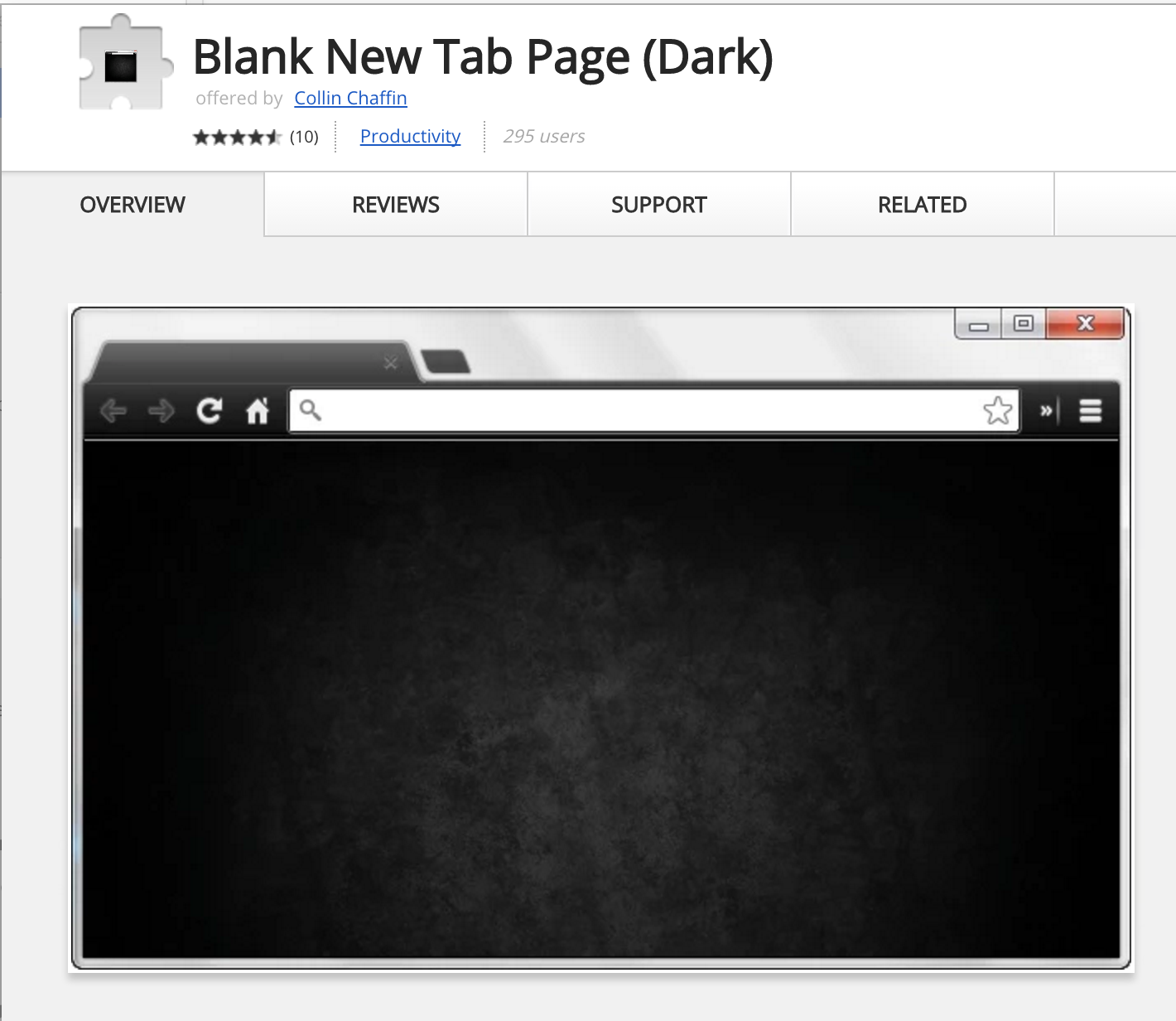 Dark Blank New Tab Page Extension